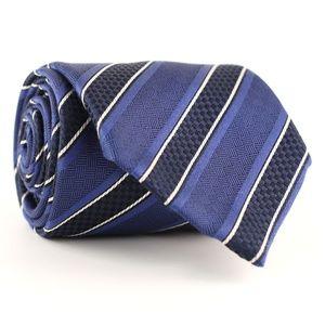 Brioni 100% Silk Neck Tie Blue/Gray Stripes
